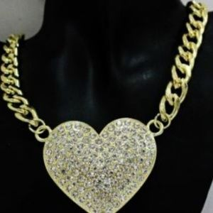 NEW Chunky Link Chain Necklace Dazzle Heart